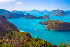 View from mountain on Angthong Marine National Stock Images