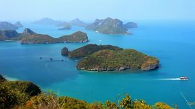 View from Mountain on Angtong marine park of the. View from Mountain on Angtong marine park of  the islands and sailing ship in Thailand stock video