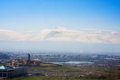 View on mountain Ararat and Yerevan in sunny spring day. View on mountain Ararat and Yerevan in sunny day Stock Photo