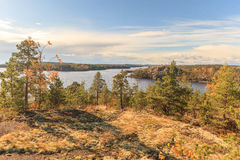 View from mountain on autumn lake Royalty Free Stock Photography