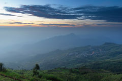 View on mountain with beautiful sky. Beautiful sky and beautiful view from top of mountain in Thailand Royalty Free Stock Image
