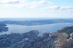 View on the mountain in Bergen, Norway stock images