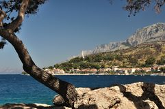 Biokovo mountain and adriatic sea. Podgora, Croati Royalty Free Stock Photos