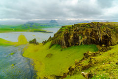 View of mountain from the cape Dyrholaey. Near the village of Vik in Iceland royalty free stock photography