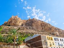 View of the mountain and the castle of St. Barbara in Alicante. Spain. stock photos