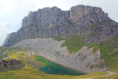 View on mountain chain and mountain lake in the alps (rofan) Royalty Free Stock Images