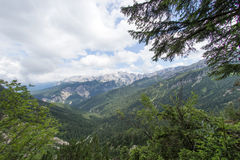 View of the mountain chain wetterstein in the bavarian alps Stock Photo