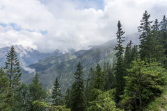 View of the mountain chain wetterstein in the bavarian alps Royalty Free Stock Image