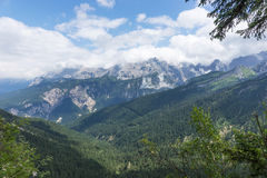 View of the mountain chain wetterstein in the bavarian alps Royalty Free Stock Photography