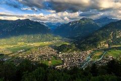 View of mountain and city at Interlaken. Switzerland Stock Photo