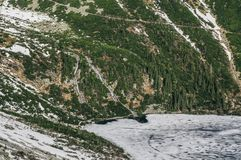 View of mountain cliff with trees on slopes and lake on foot with ice on water surface, Morskie Oko, Sea Eye, Tatra National. Park, Poland royalty free stock images