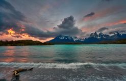 View of the mountain of Cuernos del Paine in the national park of Torres del Paine during a bright sunset. Chilean. Patagonia in Autumn stock photos