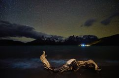 View of the mountain of Cuernos del Paine in the national park Torres del Paine at night. Chilean Patagonia in Autumn.  stock photo