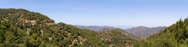 View of the mountain of Cyprus. The photo was taken at the island Kyprus. Panorama pieced together from multiple photos Royalty Free Stock Images