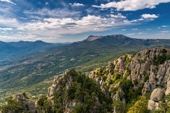 View of the mountain Demerdzhi and Chatyr-Dag Royalty Free Stock Photo