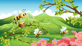 A view of the mountain with flowers and bees. Illustration of the mountain view with flowers and bees royalty free illustration