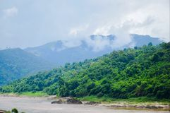 Mountain and forest beside Salween River Mae Hong Son, Thailand royalty free stock photos