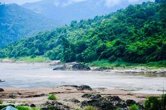 Mountain and forest beside Salween River Mae Hong Son, Thailand stock photography