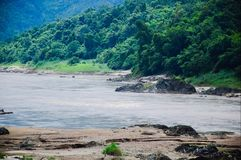 View of mountain and forest beside Salween River stock photo