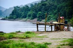 View of mountain and forest beside Salween River stock image