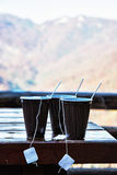View of the mountain with hot tea refreshment Royalty Free Stock Photos