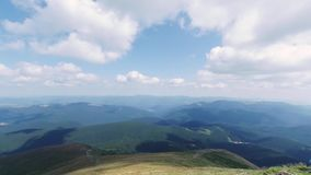 The view from the mountain Hoverla, timelapse Ukrainian Carpathian mountains. People climb to the top of the mountain. Clouds fly quickly stock video