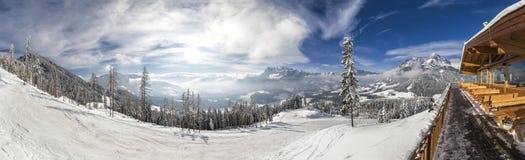 View from mountain hut in skiresort Werfenweng to Tennen mountai Stock Image