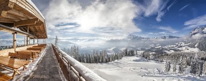 View from mountain hut in skiresort Werfenweng to Tennen mountai Stock Photos