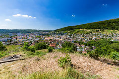 View from Mountain Lagern to Wettingen. View from Mountain Lagern to the village of Wettingen at day on July 21, 2015. Wettingen is a municipality in the Swiss Royalty Free Stock Photo