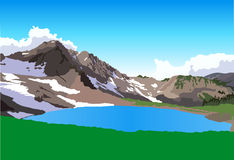 View of mountain lake. View on lake and mountain massive with snow Stock Photos