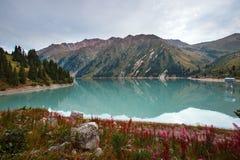 View of the mountain lake. Beautiful view of the mountain lake Almaty, Kazakhstan Stock Photos