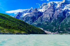 View of mountain and lake in Chilean Patagonia Royalty Free Stock Photos