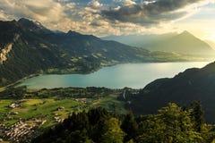 View of mountain and lake at Interlaken. Switzerland Stock Image