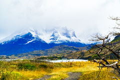 View of the mountain at Lake Pehoe stock photography