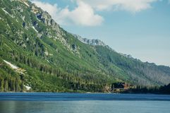 view of mountain lake with trees on slopes of mountain over water, Morskie Oko, Sea Eye, Tatra National royalty free stock photography