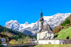 View on mountain landscape and church by Ramsau in Bavaria Stock Photography