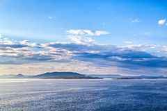 View on mountain landscape from sea in Norway Royalty Free Stock Photography
