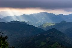 View of the mountain. Mountain landscape. The sun`s rays illuminate the slopes. View of the mountains. Mountain landscape. Northern part of Peru. The sun`s rays royalty free stock photo