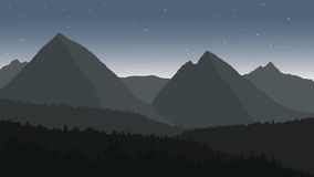View of the mountain landscape under the night sky Stock Photos