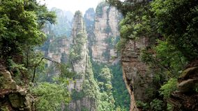 View Mountain Landscape Zhangjiajie Park With Stone Pillars And Cliff Formations. Fantastic view mountain landscape with stone pillars and cliff formations in stock video