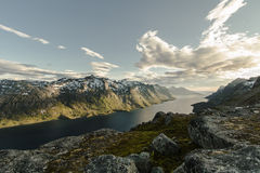 View from mountain looking down at the fjord Royalty Free Stock Image