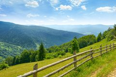 View of mountain meadows and blue sky in Ukrainian Carpathians. Royalty Free Stock Photo