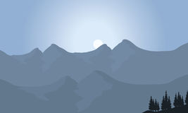 View of mountain with moon Royalty Free Stock Images
