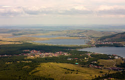 View from mountain near. View from highest point of mountain near bannoe lake stock photo