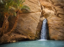 View of mountain oasis Chebika, Sahara desert, Tunisia, Africa. View of mountain oasis Chebika with waterfall, Sahara desert, Tunisia, Africa Stock Photo