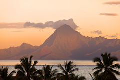 View on mountain Orohena at sunset.Polynesia. Stock Photo