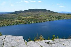 View from the mountain over beautiful lake Stock Images