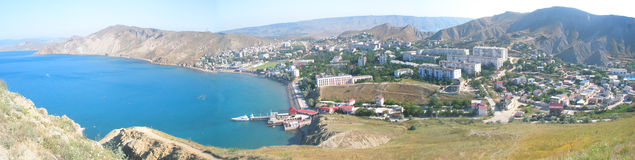 View from the mountain. Panorama of Ordzhonikidze in Crimea Stock Image