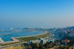 View from mountain park on the Baku bay. Royalty Free Stock Images