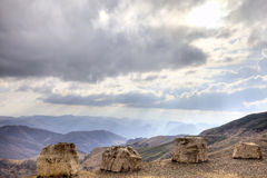 The view from the mountain pass Gumbashi Royalty Free Stock Photography